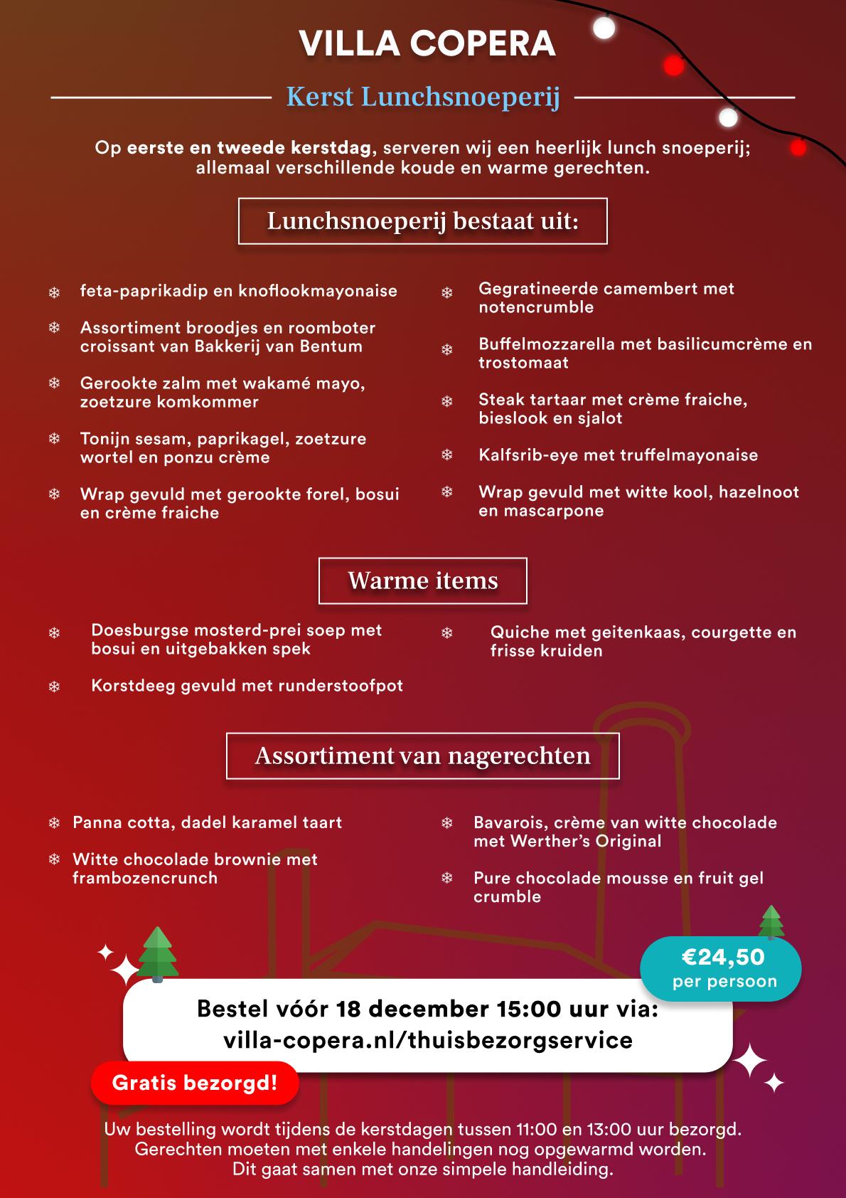 Villa Copera - Thuisbezorgservice - Kerst Lunchproeverij